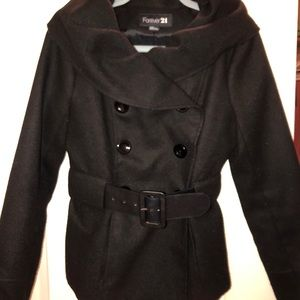 Stylish black pea coat